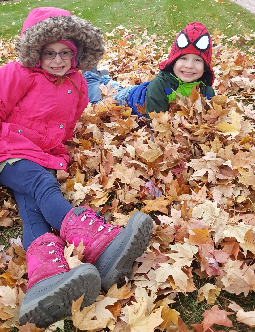 Jumping into leaf piles!